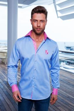 Baronet Slim Fit Hemd mit exklusiven Oxford Blau/Rosé