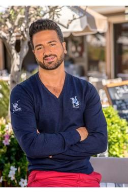 Baronet Monaco Pullover mit V-Ausschnitt und gerippten Abschlüssen - Marine Blau
