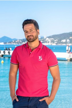 Baronet Custom Fit Poloshirt  Rot mit Logo-Stickerei