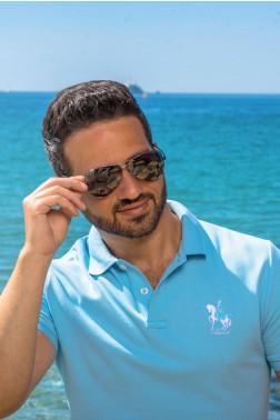 Baronet Custom Fit Poloshirt mit Logo-Stickerei Hellblau