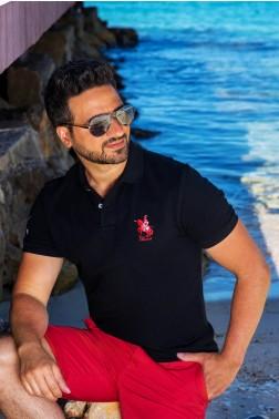 Baronet Custom Fit Poloshirt mit Logo-Stickerei Schwarz