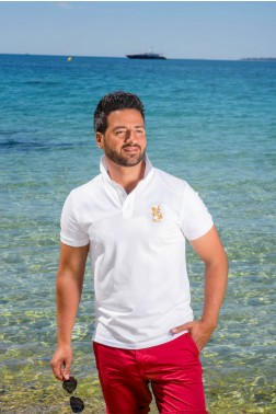 Baronet Custom Fit Poloshirt in Weiss mit goldener Stickerei