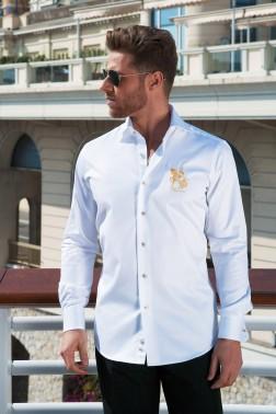 Baronet Slim Fit Hemd der Königsklasse Weiß/Gold